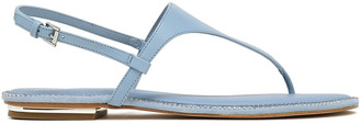 MICHAEL Michael Kors Enid Silver Tone-trimmed Crystal-embellished Leather Sandals