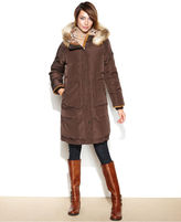 Jones New York Coat, Hooded Faux-Fur-Trim Quilted Puffer