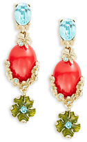 Oscar de la Renta Resin Stone and Crystal Flower Drop Clip-On Earrings