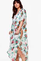 Boohoo Plus Fiona Tropical Printed Kimono