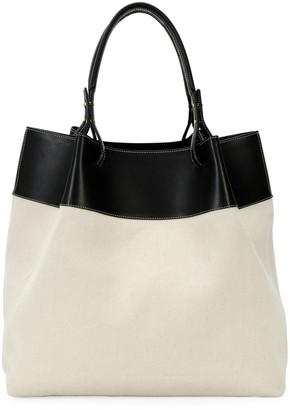 Bottega Veneta Large Leather-Trim Linen Tote Bag