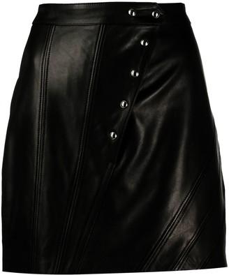IRO Asymmetric Leather Mini Skirt