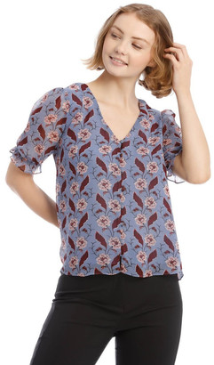 Tokito Button Front Shirred Sleeve Top Lt