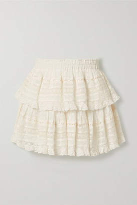 LoveShackFancy Ruffled Crochet-trimmed Swiss-dot Cotton-voile Mini Skirt - Ivory