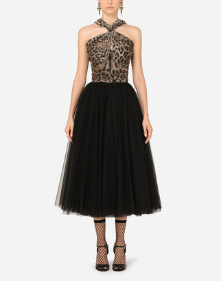 Dolce & Gabbana Calf-Length Dress In Leopard-Print And Solid-Colour Tulle