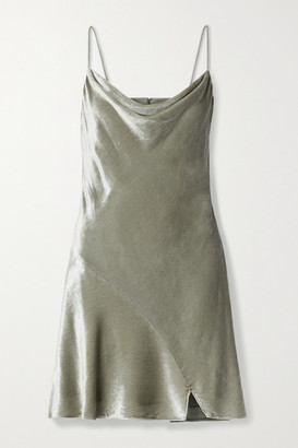 Alice + Olivia Alice Olivia - Carmelina Draped Velvet Mini Dress - Silver