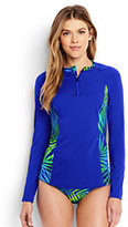 Classic Women's Petite Long Sleeve Half-zip Rash Guard-Blue Tropical/Electric Blue
