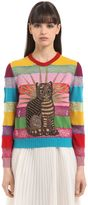 Gucci Cat Embroidered Lace & Wool Sweater