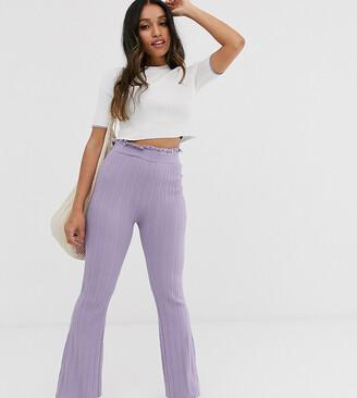 Asos DESIGN Petite co-ord rib knit trouser-Purple