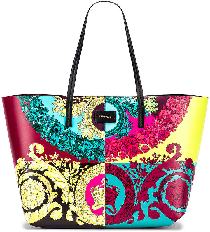 Versace Leather Tribute Tote in Black & Multicolor | FWRD