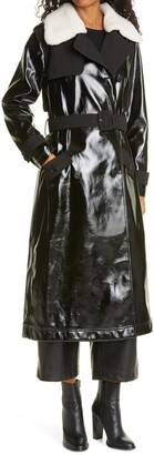Self-Portrait Faux Leather Trench Coat with Removable Genuine Shearling Collar