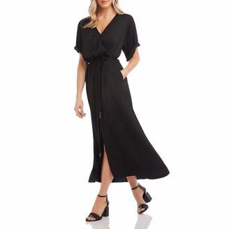 Karen Kane Womens Black Solid Short Sleeve V Neck Tea-Length Trapeze Dress UK Size: 4