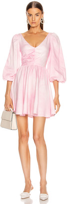BROGNANO Ruched Empire Waist Mini Dress in Pink | FWRD