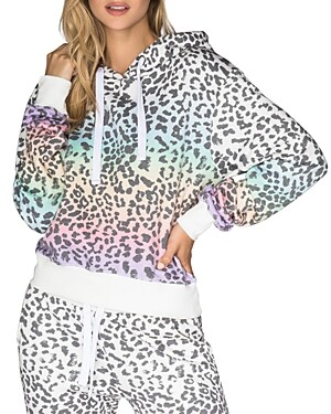 Chrldr Rainbow Leopard Print Hooded Sweatshirt