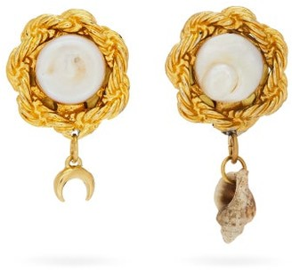 Marine Serre Asymmetric Faux-pearl Earrings - Gold Multi