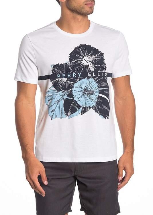 Perry Ellis Short Sleeve Blue Flower T-Shirt
