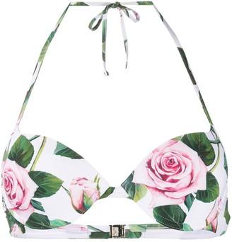 Dolce & Gabbana Tropical Rose Print Bikini Top