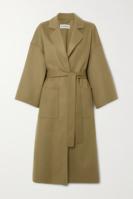 Loewe Belted Wool And Cashmere-blend Coat - Green