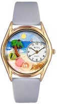 Whimsical Watches Women's C1210010 Classic Gold Palm Tree Baby Blue Leather And Goldtone Watch