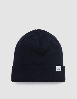 Norse Projects Men's Norse Top Beanie Hat in Navy | Wool