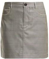 Ganni Merkel Diamante Checked Silk-blend Skirt - Womens - Grey