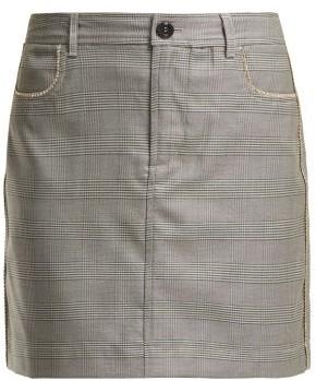 Ganni Merkel Diamante Checked Silk-blend Skirt - Grey