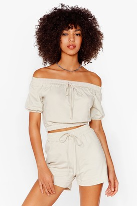 Nasty Gal Womens Day Off-the-Shoulder Crop Top and Shorts Set - Stone