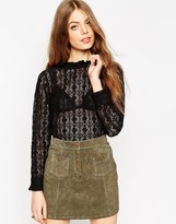 Asos Long Sleeve All Over Lace High Neck Top