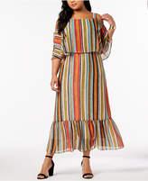 NY Collection Plus & Petite Plus Size Cold-Shoulder Popover Dress
