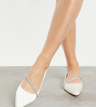 Be Mine Wide Fit Be Mine Bridal Wide Fit Raey flat shoe with embellishment in ivory satin