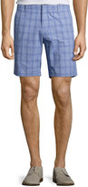 Zachary Prell Antrorse Check Stretch-Cotton Shorts, Blue