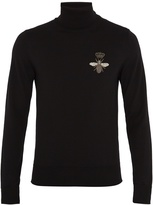 Dolce & Gabbana Bee-appliqué roll-neck wool sweater