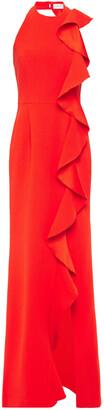 Rebecca Vallance Ruffled Crepe Halterneck Gown