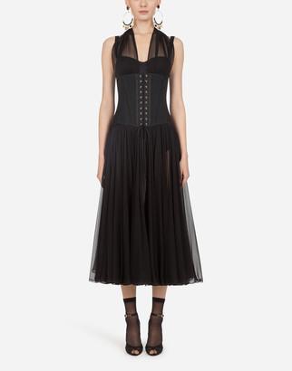 Dolce & Gabbana Longuette Chiffon Dress With Bustier