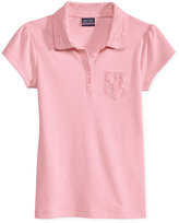 Nautica Girls' Uniform Lace-Trim Polo