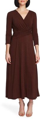 Chaus Elemental Forms Faux Wrap Midi Dress