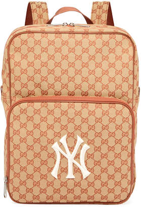 Gucci Men's GG Supreme Backpack with NY Yankees MLB Applique