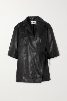 Ganni Leather Wrap Jacket - Black