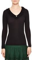 Sandro Women's Ruffle Trim V-Neck Sweater