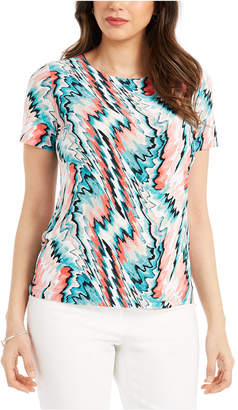 JM Collection Abstract-Print Jacquard Top