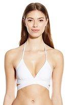 Sofia by Vix Women's Solid White Tri Crossed Bikini Top
