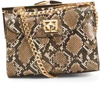 Framed Snake Print Shoulder Bag
