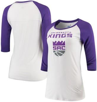 New Era Women's 5th & Ocean by White/Purple Sacramento Kings Patch Logo Raglan 3/4-Sleeve T-Shirt