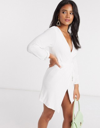 Club L London Club L slinky wrap dress with plunge front in white