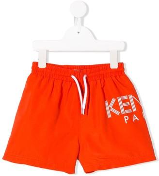 Kenzo Kids Logo Print Swim Shorts