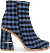 Tibi Nora Leather-Trimmed Gingham Felt Ankle Boots