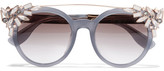 Jimmy Choo Vivy Embellished Round-frame Acetate And Gold-tone Sunglasses - Gray