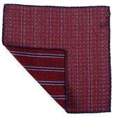 Black Burgundy and Blue Reversible Wool Pocket Square