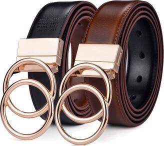 """Beltox Fine Beltox Women Belt Leather 1.3"""" Reversible 2 in 1 Rotated 2 Rings Gold Buckle - Black - Medium"""