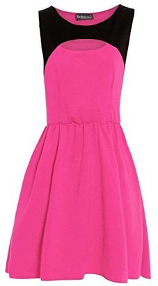Be Jealous Womens Ladies Celebrity Sleeveless Cut Out Contrast Flared Franki Skater Dress